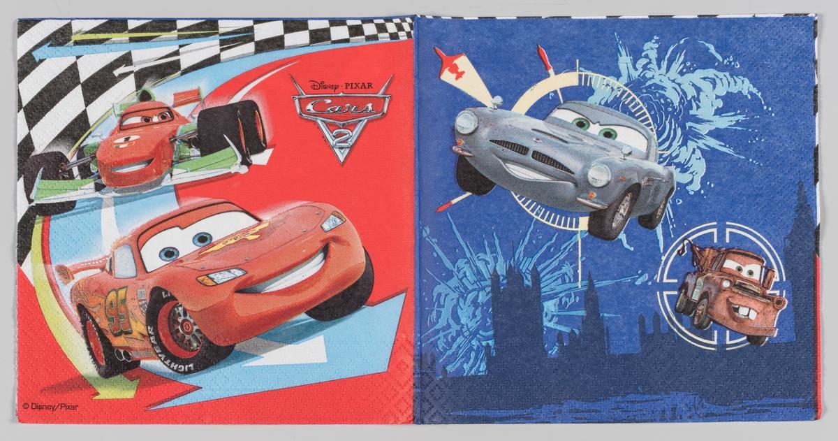 Figurer fra filmen Biler: Racerbilen Lightning McQueen, porschen Sally og slepebilen Bill.  Filmen Biler er en dataanimert film fra Disney og Pixar som hadde premiere i 2006.