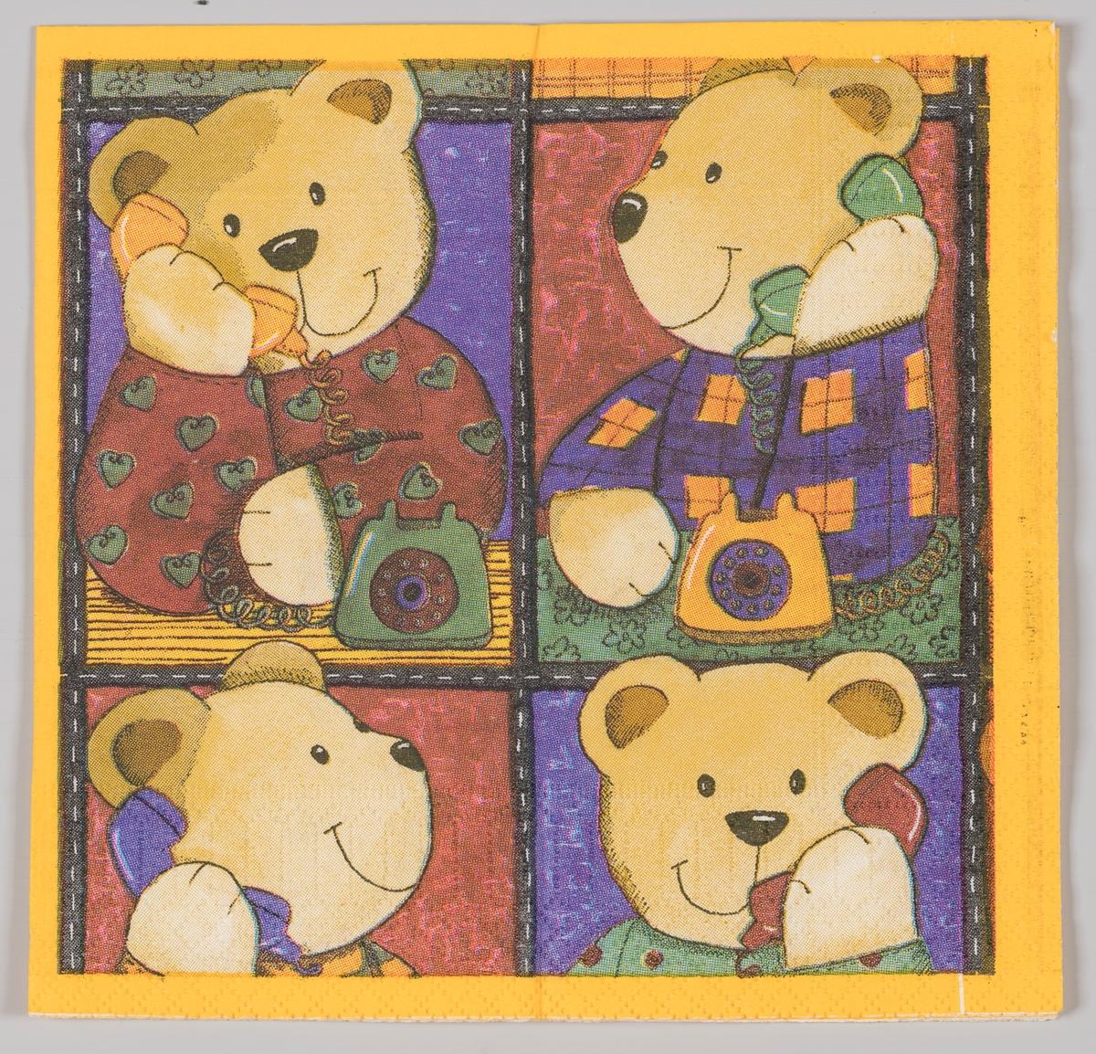 Fire teddybjørner snakker i telefon.