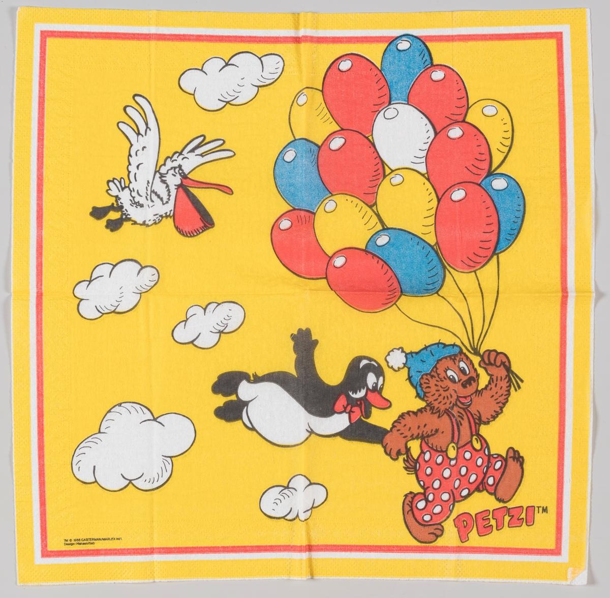 Rasmus Klump, pingvinen Pingo og pelikanen Pelle med en masse ballonger  Rasmus Klump er en dansk tegneserie som kom i 1951. Rasmus Klump heter Petzi på fransk, tysk, italiensk og portugisisk.