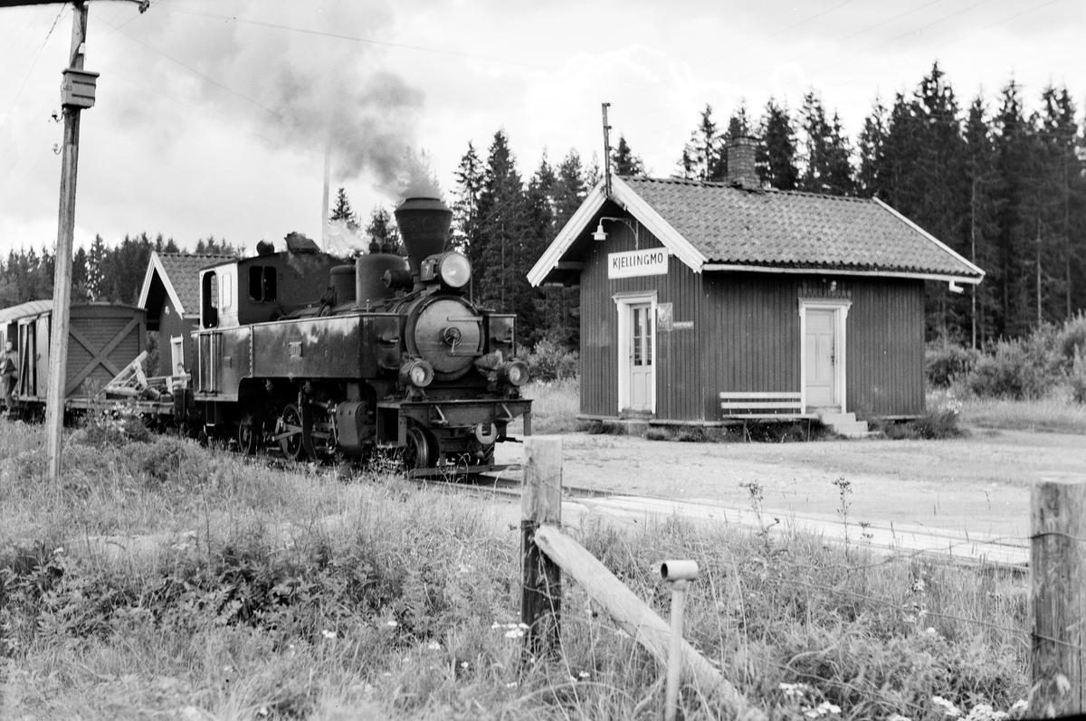 Damplokomotiv type XXIXb nr. 7 Prydz med oppsamlingstog etter Aurskog-Hølandbanens nedleggelse, her på Killingmo stasjon.