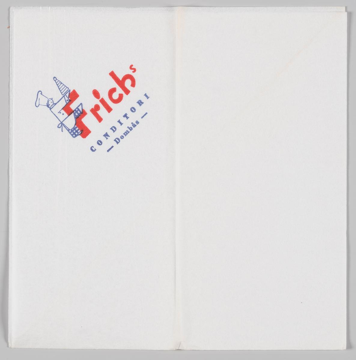 En baker med en kransekake som krabber opp på bokstaven F i reklameteksten for Frich`s Conditori på Dombås.
