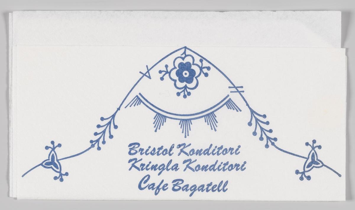 Stråmønster og rekklametekst for Bristol Konditori, Kringla Konditori og Cafe Bagatell (alle i Trondheim).  Samme motiv på MIA.00007-004-0071.