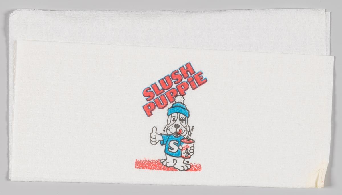 En valp kledt i lue og t-shirt med bokstaven S holder en beholder med Slush og peker med tommelen opp. Reklametekst for Slush Puppie.  Slush Puppie er en leskedrikk som kom på markedet i 1970 i USA. Produktet eies av J & J Snack Foods.