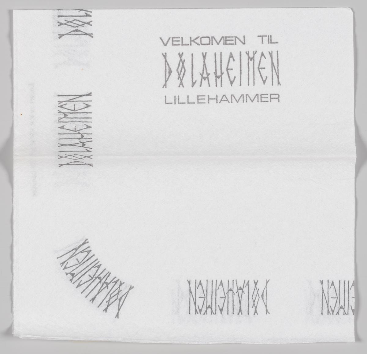 En reklametekst for Dølaheimen hotell og kafeteria på Lillehammer.  Samme tekst på MIA.00007-004-0140.