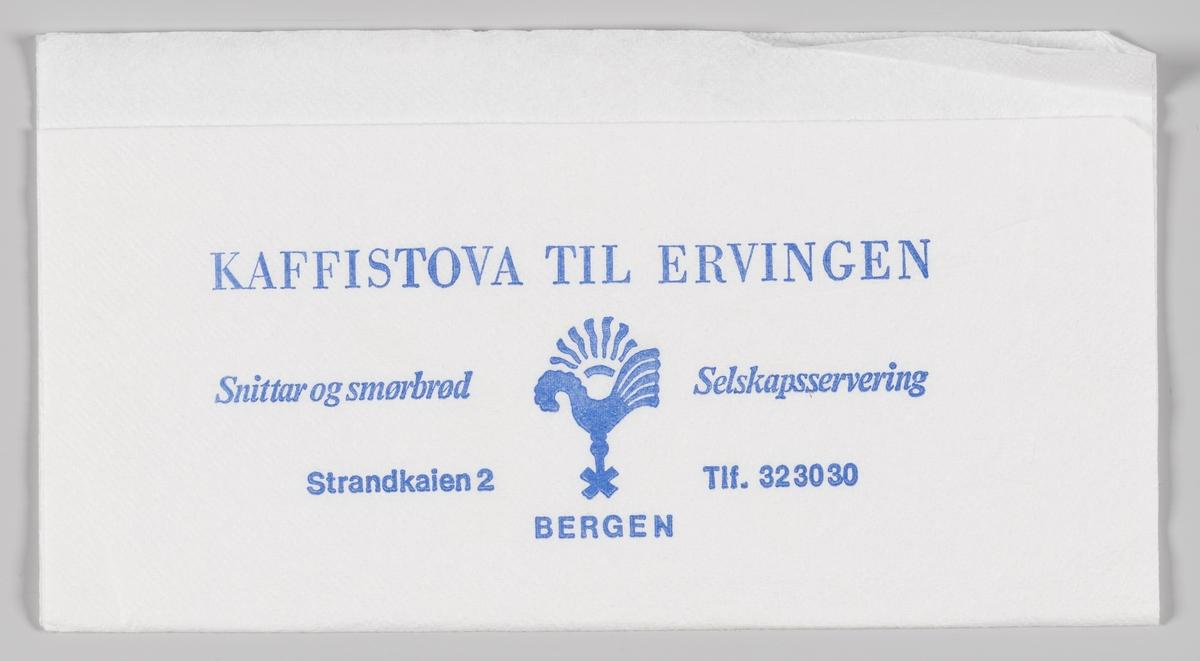 En hane og en reklametekst for Kaffistova til Ervingen i Bergen.   Bergen Ungdomslag drev i perioden 1927-2009 L/L Kaffistova til Ervingen i Torgegaarden, Strandkaien 2B i Bergen.  Samme reklametekst på MIA.00007-004-0156.  Samme motiv på MIA.0007-004-0155.
