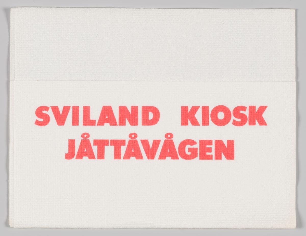 En reklametekst for Sviland kiosk ved Jåttåvågen i Hinna bydel i Stavanger.