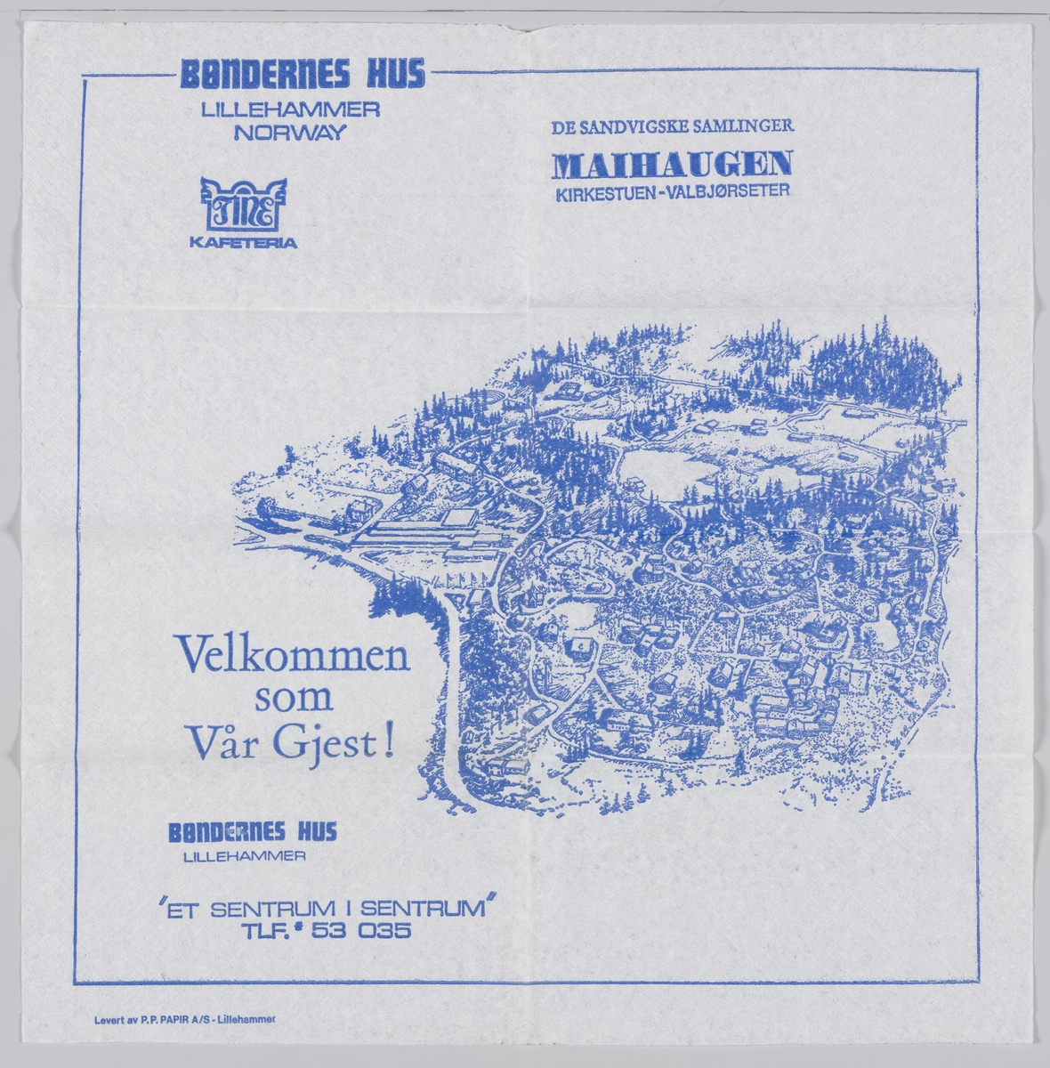 Et kart over Maihaugen på Lillehammer og en reklametekst for kafeteriaen Bøndernes Hus på museet.  Samme tekst på MIA.00007-004-0241.