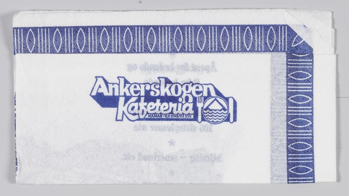 En reklametekst og tegning av området ved Akerskogen Kafeteria på Hamar.