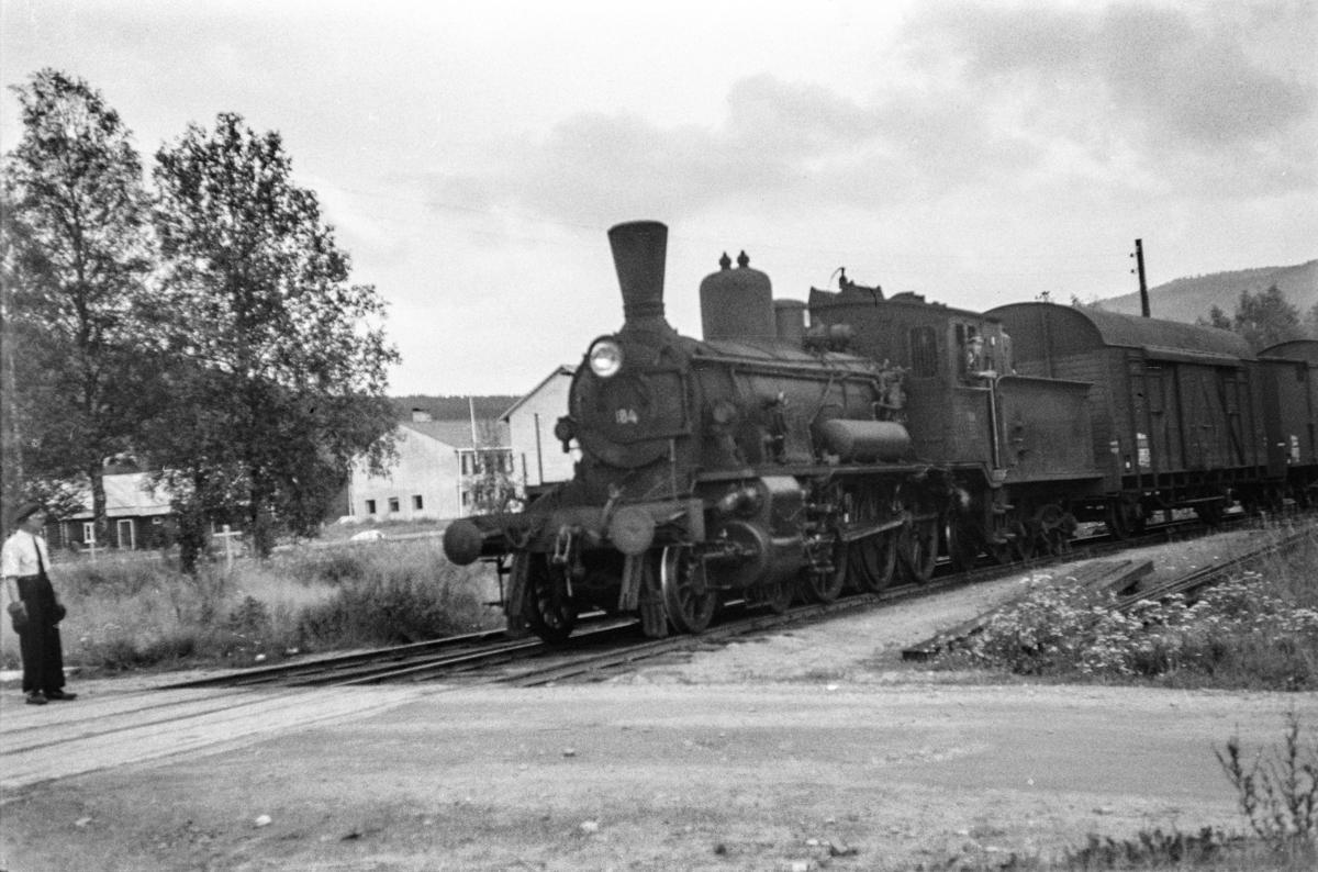 Damplokomotiv type 18c nr. 184 med godstog fra Hamar til Tynset, tog 5291, på Koppang stasjon.