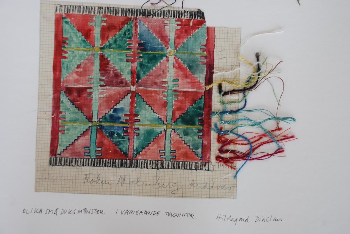 Skisser till duksvävar i varierande tekniker komponerade av Hildegard Dinclau.