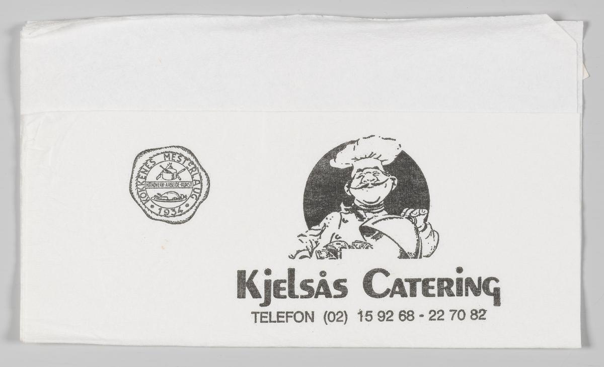 Et mestermerke og en kokke som løfter lokket på en varm rett og reklametekst for Kjelsås Catering og Cafè Turbinen og Norsk Teknisk museum.