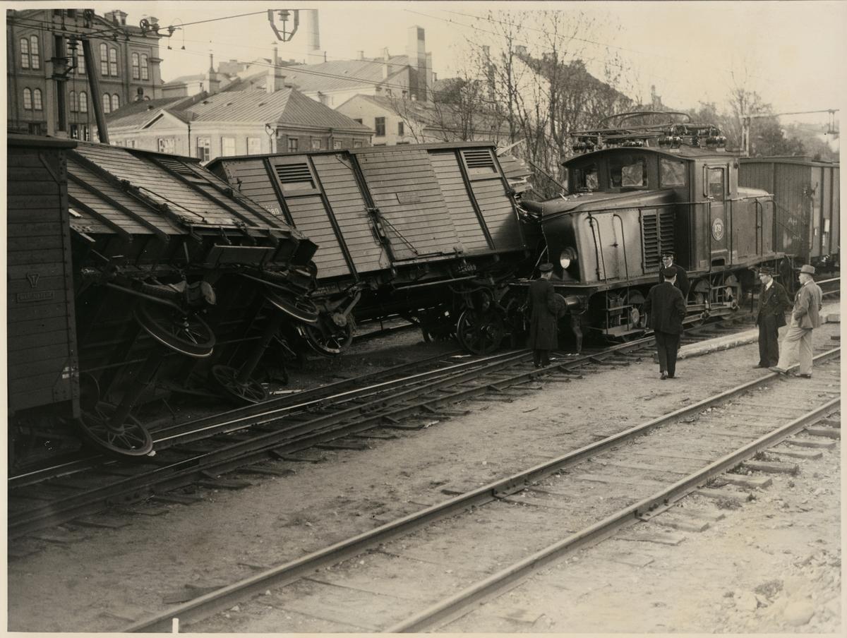 Statens Järnvägar, SJ Ub 279 tågolycka vid Stockholms Södra station maj 1935.