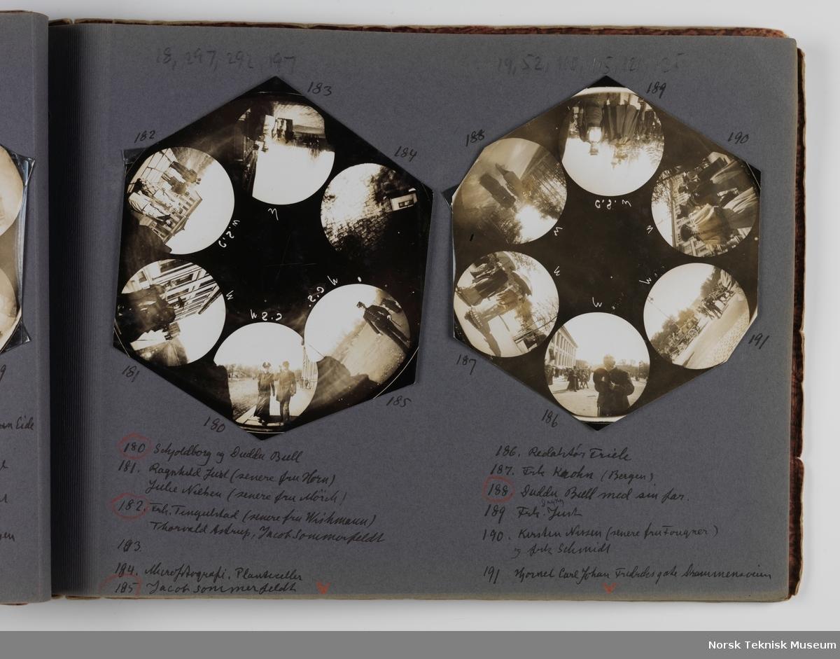 Fotoalbum med kontaktkopier av knapphullsbilder