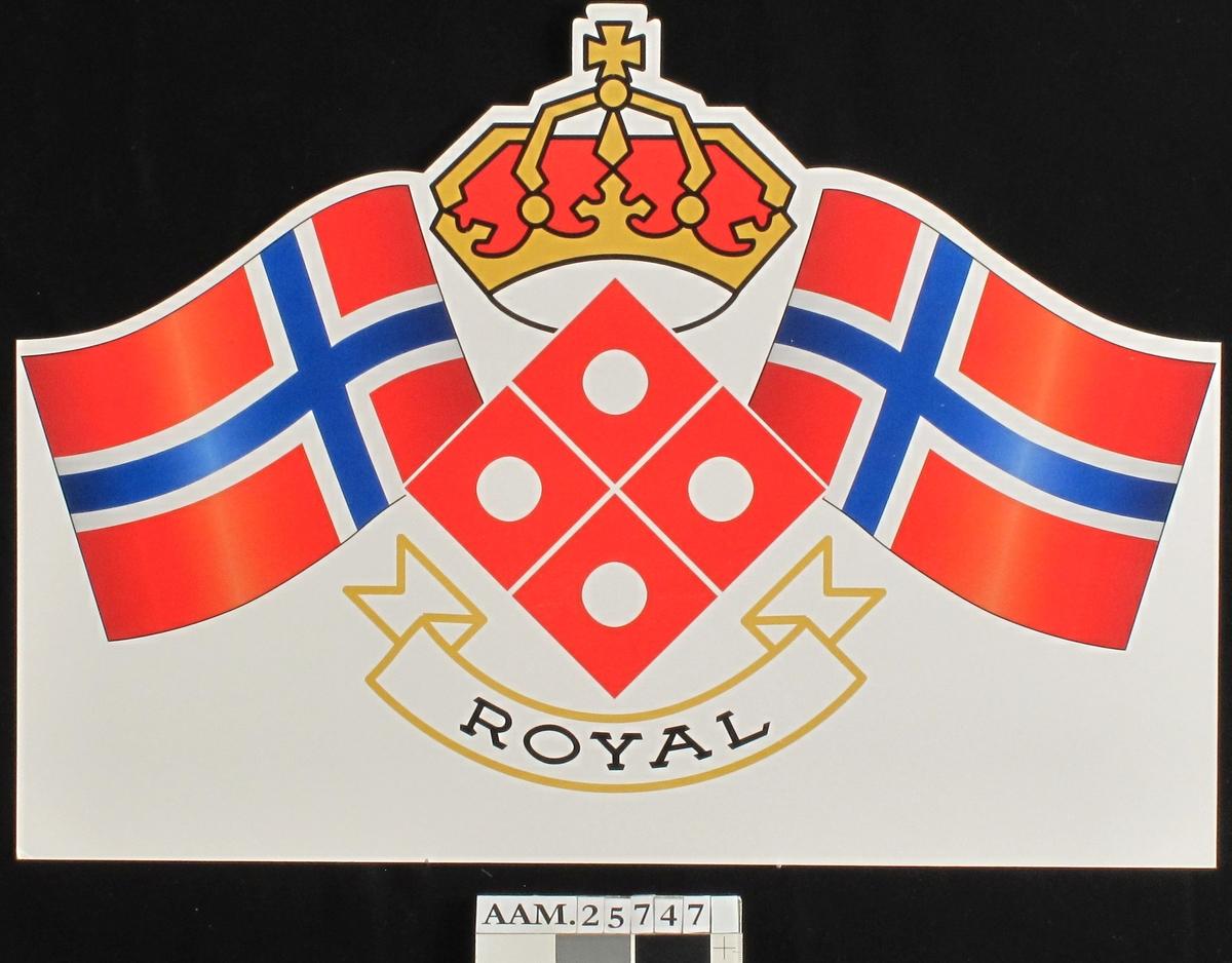 Kongekrone og to norske flagg. Banner m.tekst.
