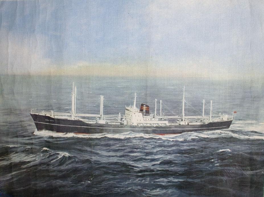 Kopi av oljemaleri av MS EMMA BAKKE fra Haugesund under fart på åpen sjø.