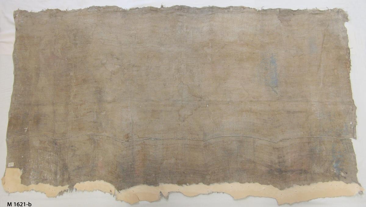 Bonadsmåleri på grövre tuskaftvävt linnetyg med målning i tempera - pigment, ägg, troligen äggvita och mjöl (Nyström 2012:150-151). Motiv i översta målade bården över Drottningen av rika Arabien besöker kung Salomo och i nedersta över Absalons död.  Linnettyget består av två horisontellt hopskarvade delar vilka har råa kanter eller stadkanter i ytterkanterna.  Inskrivet i huvudkatalogen 1892-1900.