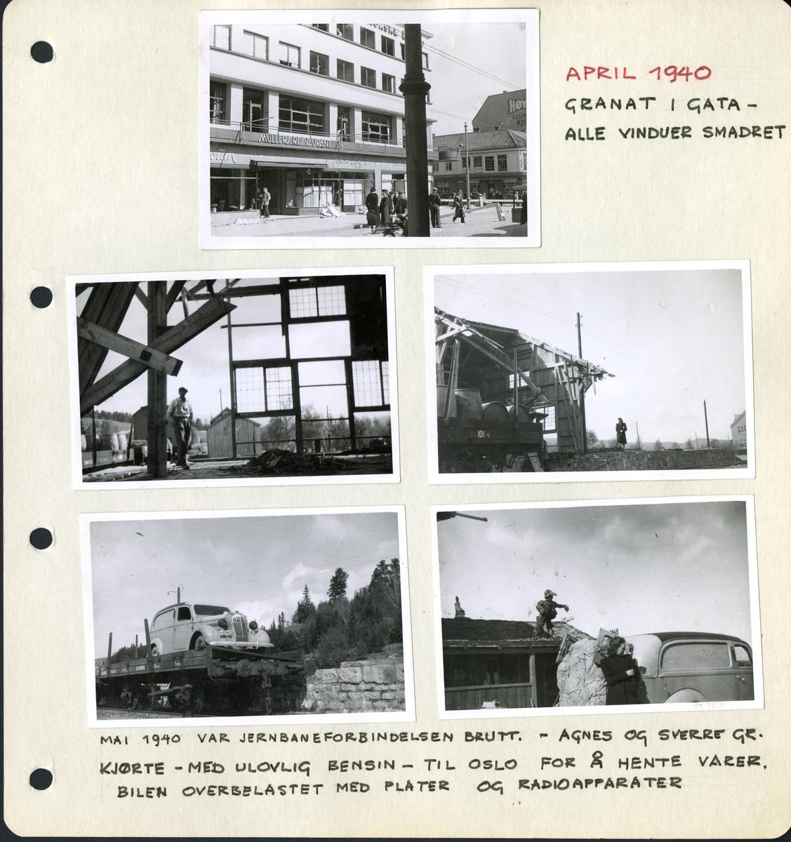 "Fra familiealbum. Under fotografiet står det: ""Fra april 1940. Granat i gata- alle vinduer smadret."""
