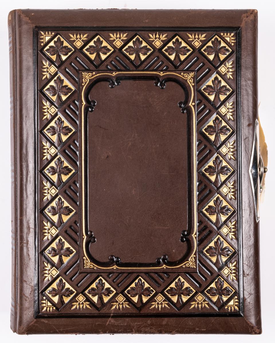 Fotoalbum, brunt skinn. Dekor; spegel inramad av reliefartad bård i rutsystem med blad bemålad med guld och mörk färg. På baksidan smal bård och spegeln fylld med slingrande ornamentik. I hörnen nubbar.