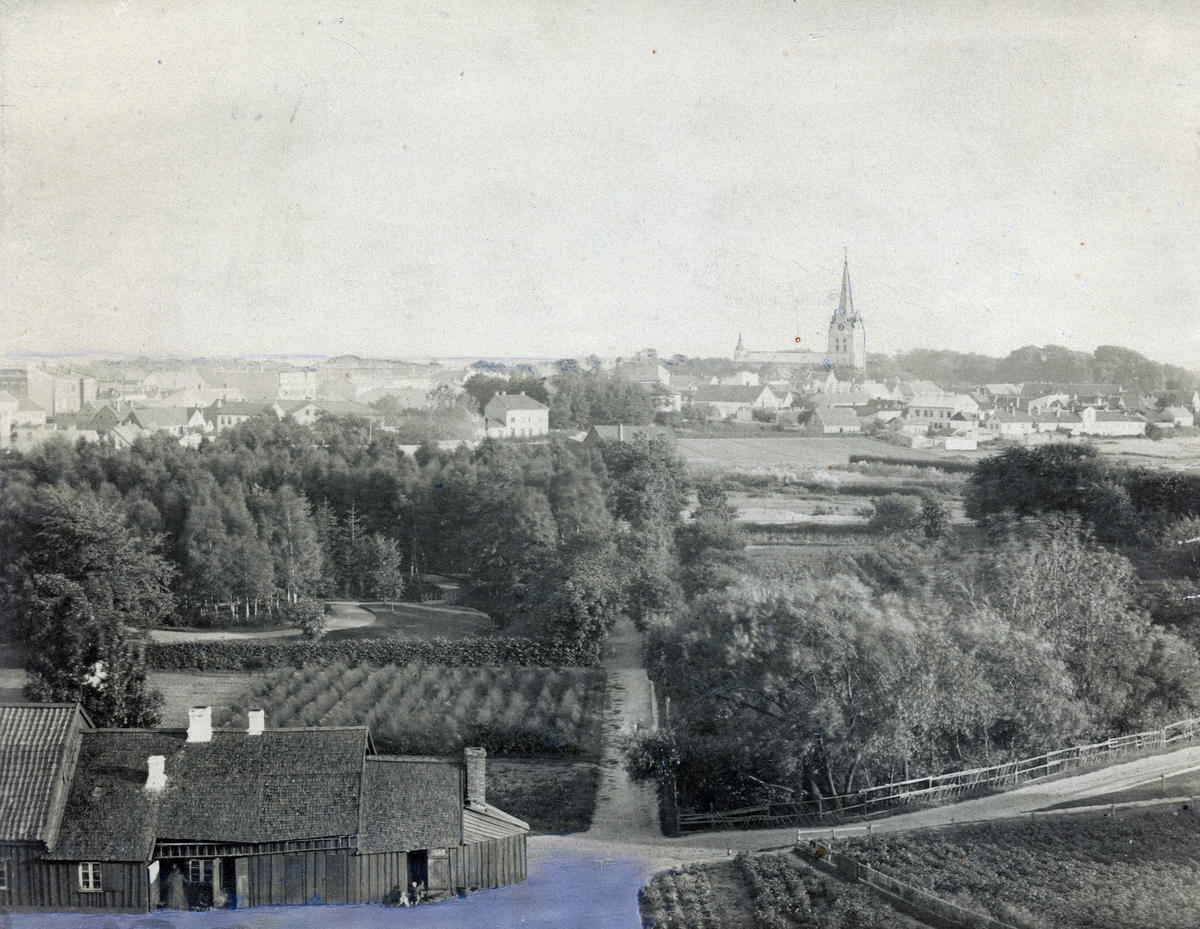 Halmstad på 1890-talet. Vy taget från torntrapporna på Galgberget.