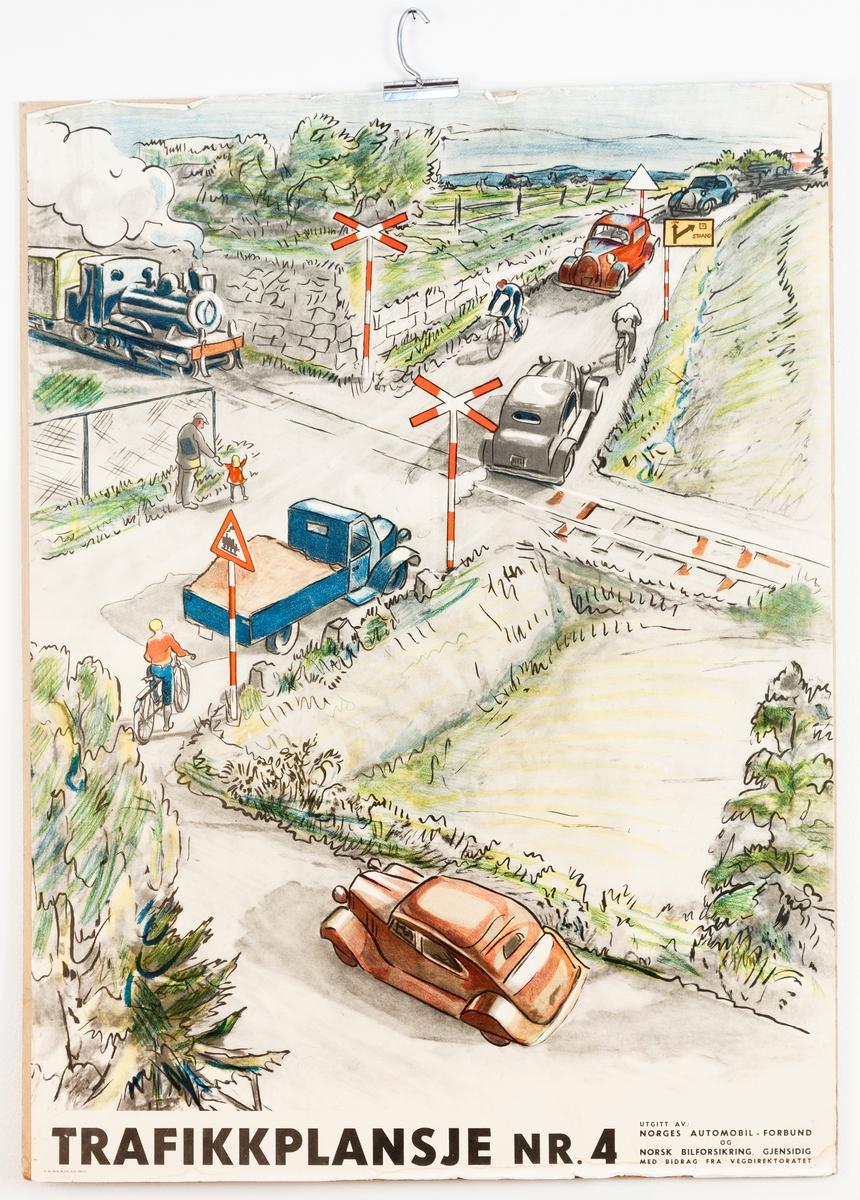 Rektangulær undervisningsplansje i fargetrykk; Trafikkplansje Nr. 3 og 4, Norges automobilforbund.  Trykk på begge sider.
