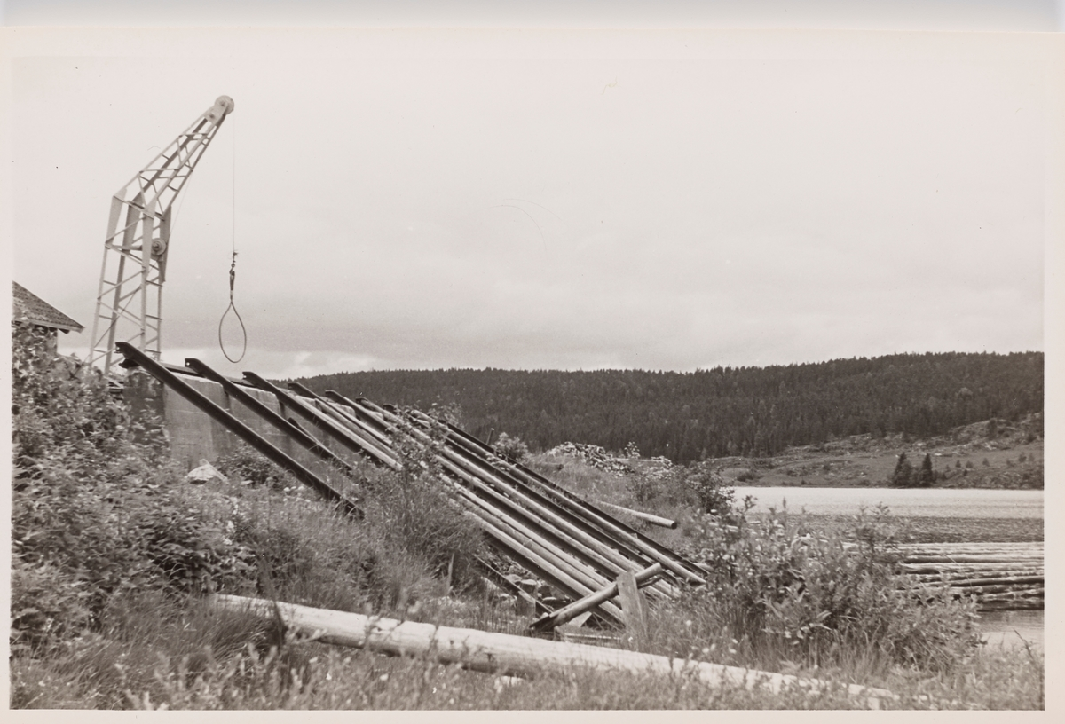 Kran for lossing av tømmer på Skulerud brygge