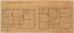 Plan av 1. og 2. etasje Orkanger stasjon. [Tegning]