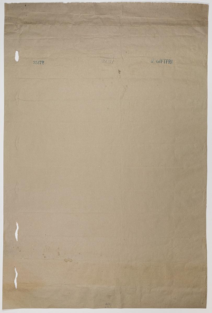 Ljusgrått genomfärgat papper med tryck i guld, svart och rostbrunt. Stiliserade blommor och ornament utförda med en bestämd linjeteckninng.