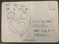 Postkort fra barnebarn til besteforeldre.   Dette postkortet