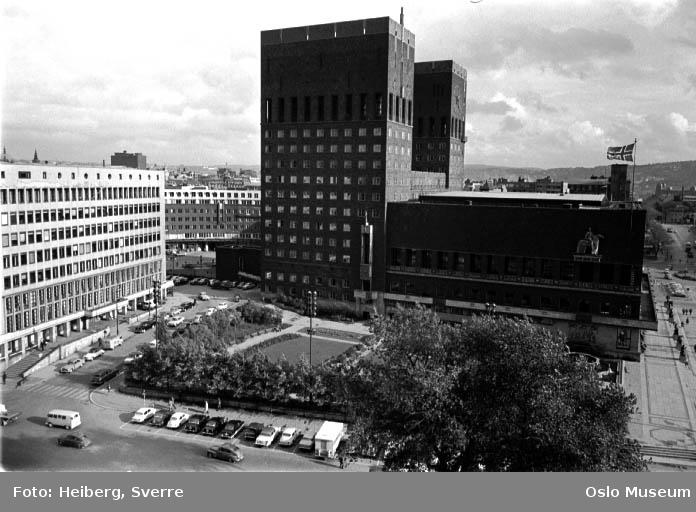 utsikt, plass, park, biler, Rådhuset, kontorbygninger