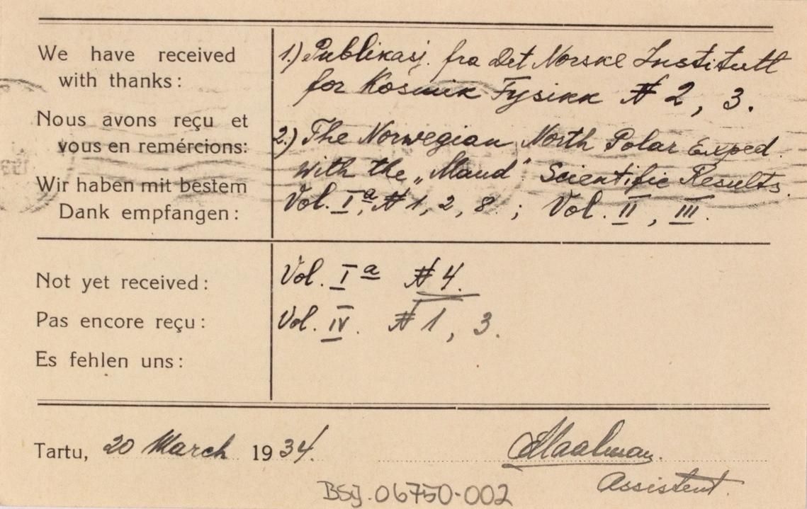 Takkekort vedr. polarskipet MAUD. Takkekort fra Ûlikooli Meteoroloogia Observatoorium, Tartu, Estonia (med frimerke) i forbindelse med at de har mottatt publikasjon ved. MAUD sin polekspedisjon i 1918-1925. Datert 20 mars 1934.