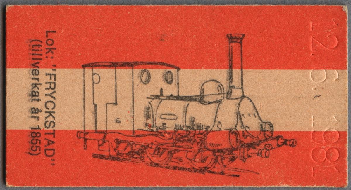"""Minnesbiljett av Edmondsonskt format. Vit med ett orange band på var sida. Biljetten är av liggande format. På ena sidan texten """"MINNESBILJETT från Ditt besök på JÄRNVÄGSMUSEUM GÄVLE"""" samt ett serienummer. På andra sidan ett tecknat ånglok samt texten """"Lok: """"FRYCKSTAD"""" (tillverkat år 1855)"""". Ett präglat datum finns utmed ena kortsidan."""