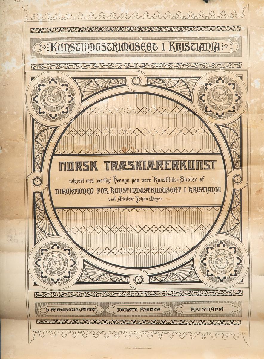 """Div. skoleplansjer; """"Norsk treskjærerkunst"""". Fra Vestby skole."""