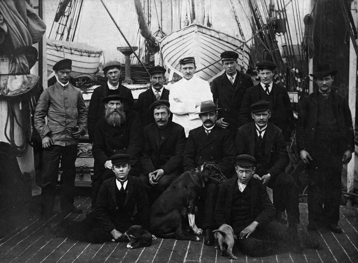 Mannskapsbilde med skipshunden og valper
