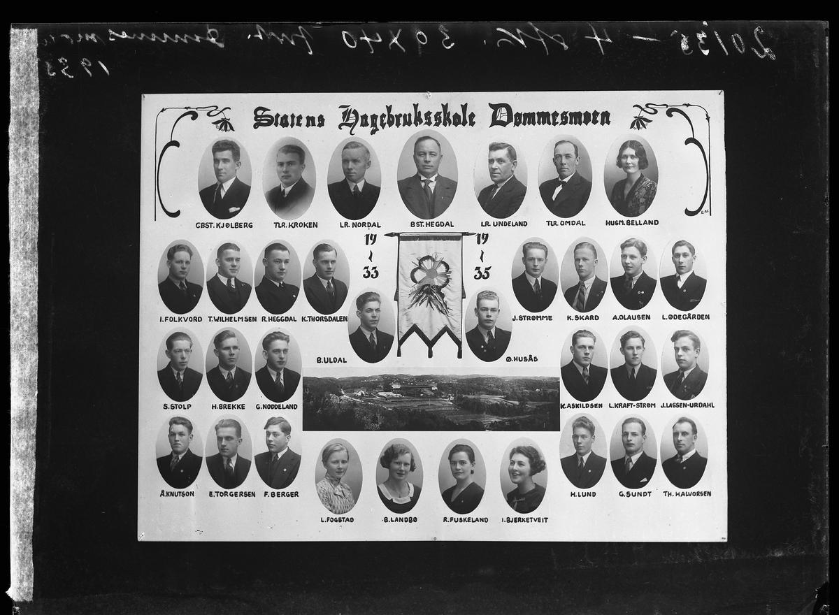 Statens hagebruksskole - Dømmesmoen. Elever, lærere og skolebygget i 1935