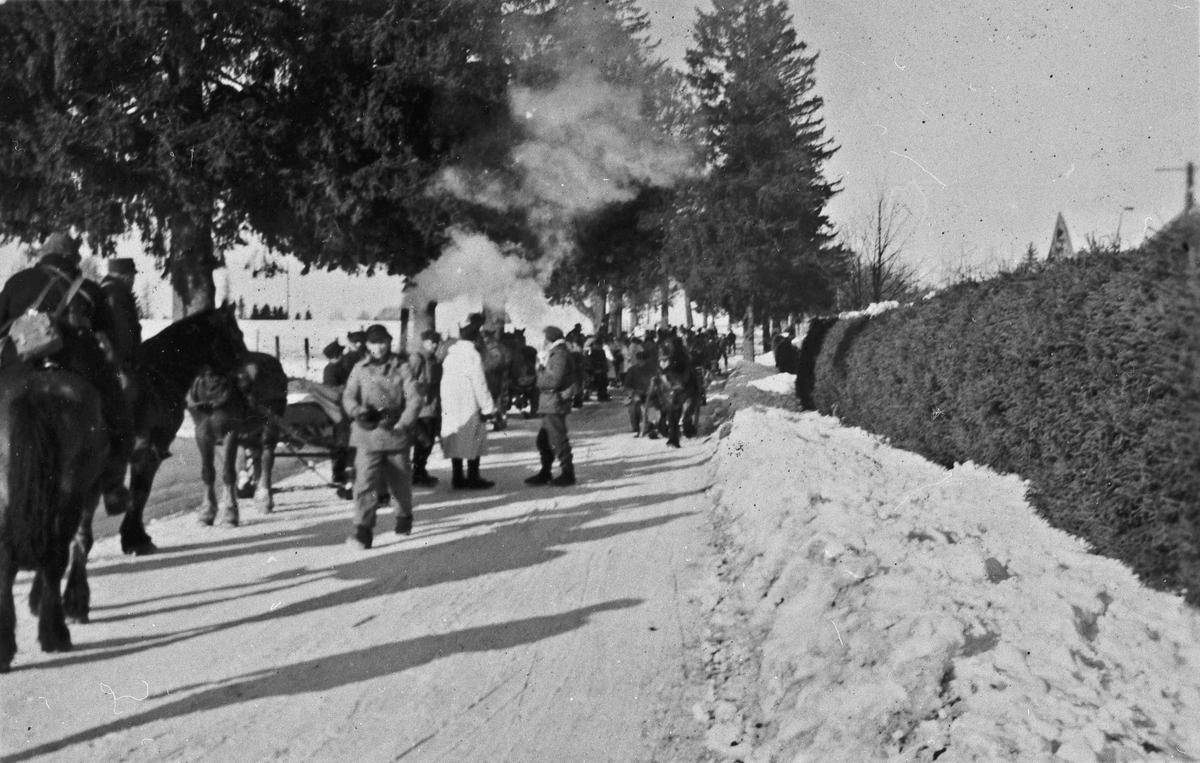 Norske soldater under den store militærøvelsen i mars 1940.