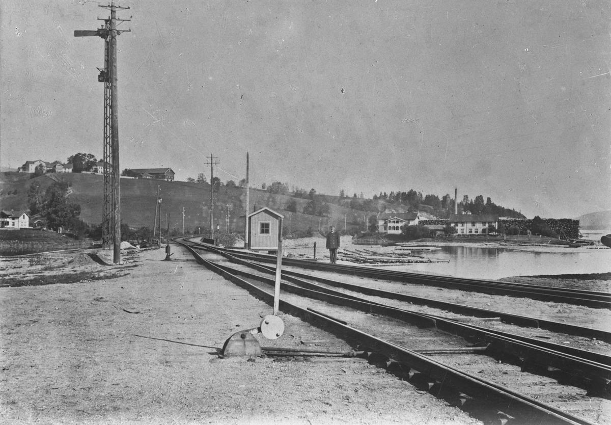 Eidsvoll stasjon sett mot nord. Tømmer fra Vorma ble trukket opp for videre frakt med tog. Bilde fra rundt 1. verdenskrig. I 1920 ble husene til høyre for jernbanelinjen revet. De var leiegårder mest for jernbanefolk. Vormen forenede teglverk bak husene ble ferdig i 1900.