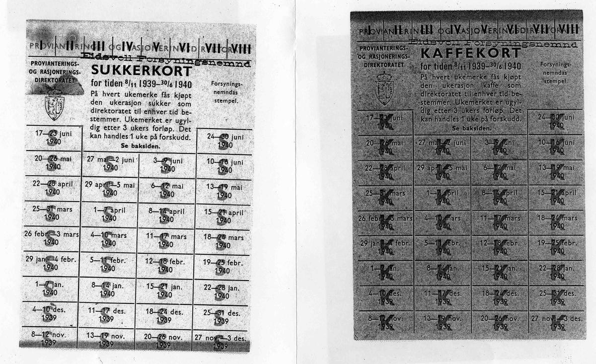 Rasjoneringskort fra 2. verdenskrig.
