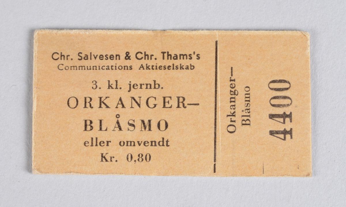 Rektangulær billett for reise ved Thamshavnbanen.