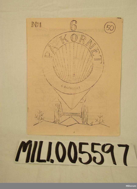 """Tidning """"På kornet"""" nr 1, 6 batteriet 1948"""