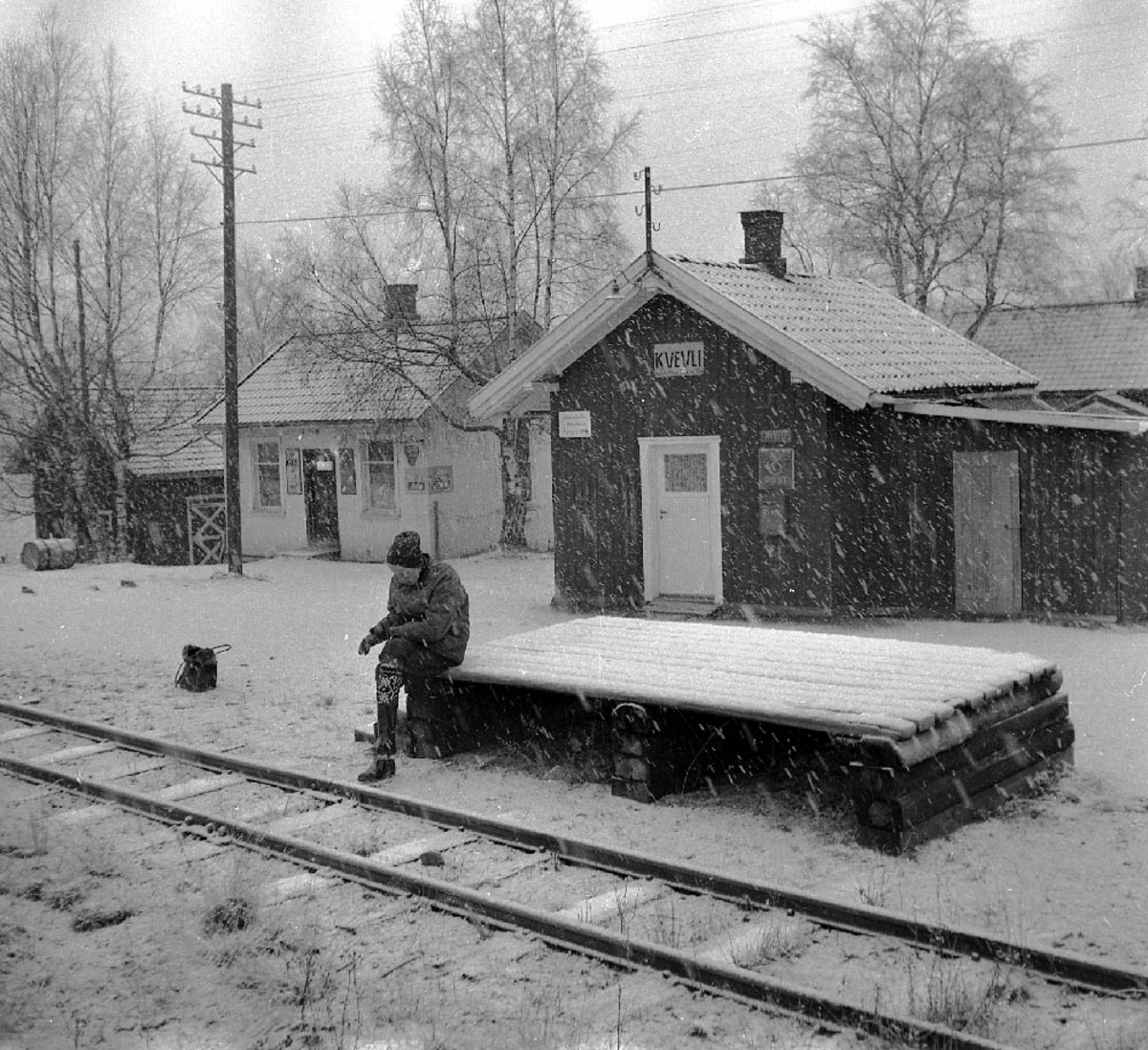 Ved Kvevli stasjon to år etter nedleggelsen.