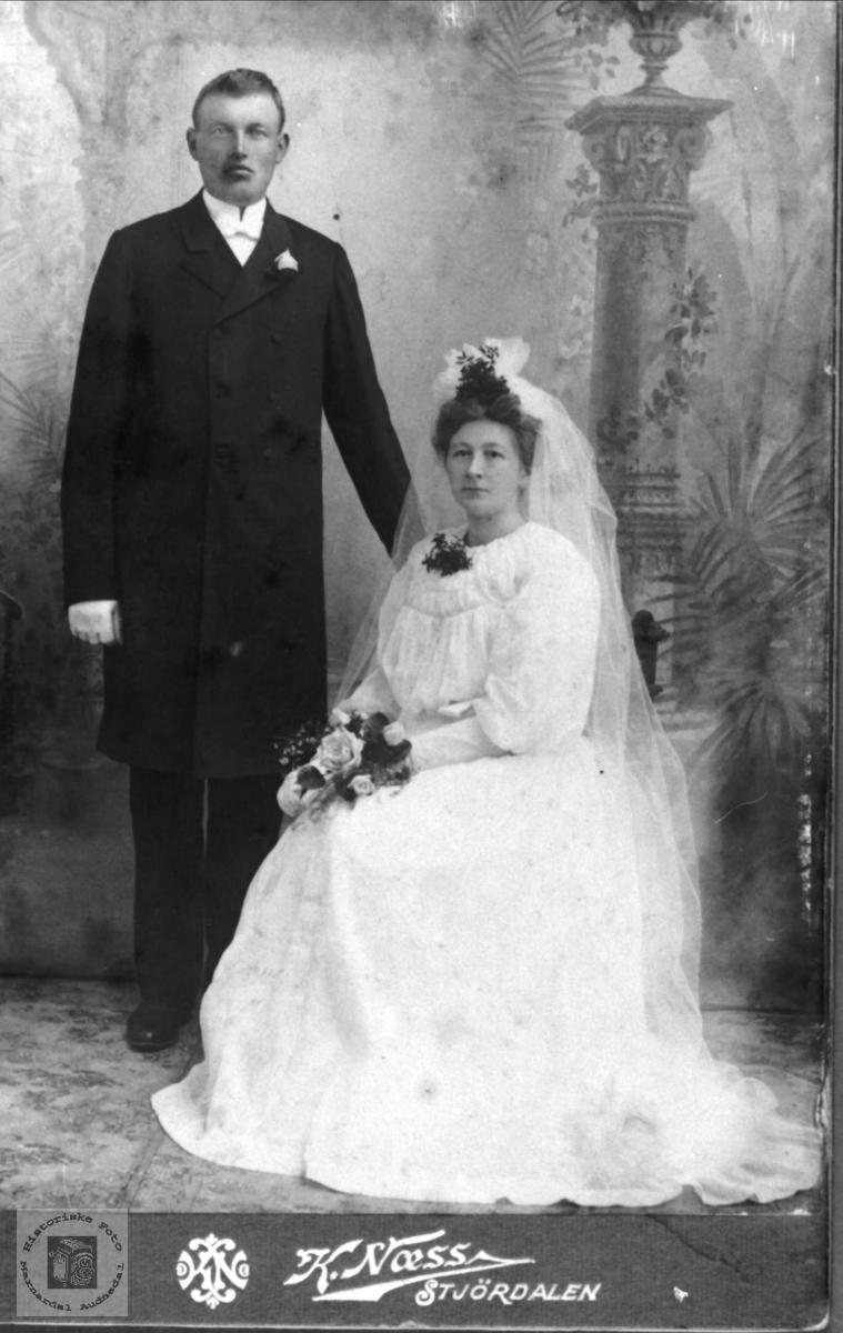 Brudebilde av Ole og Inga Bruskeland, Laudal og Søgne.