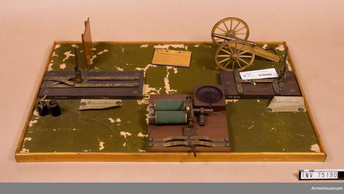 Grupp F:III(överstruken) V.  Bestående av: elektroapparaten. 1.st. strömbildare. 1.st. strömvändare. 1.st. anordning (i förminskad skala) av trådskärm, samt kanon och ledningar Tersur saknas.