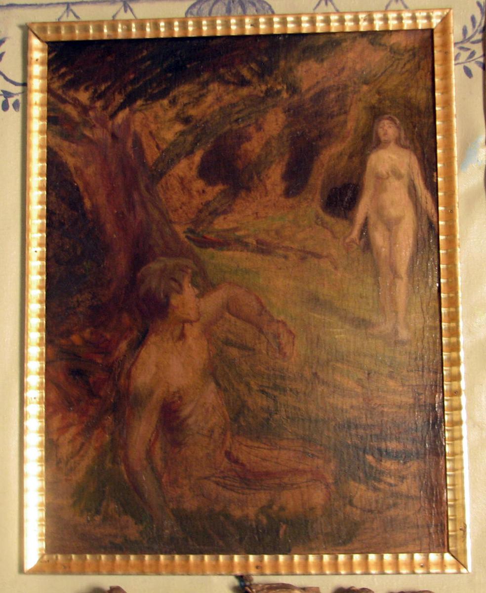 Rektangulært, ramme:bølget. Nakne figurer i landskap; i forgrunnen sittende mann, profil mot h., i mellomgrunnen til høyre stående kvinne, landskap brunlig