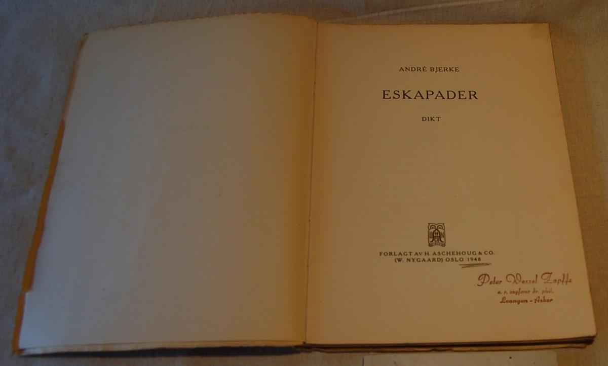 På bokens forside en lyre omslynget med et bånd