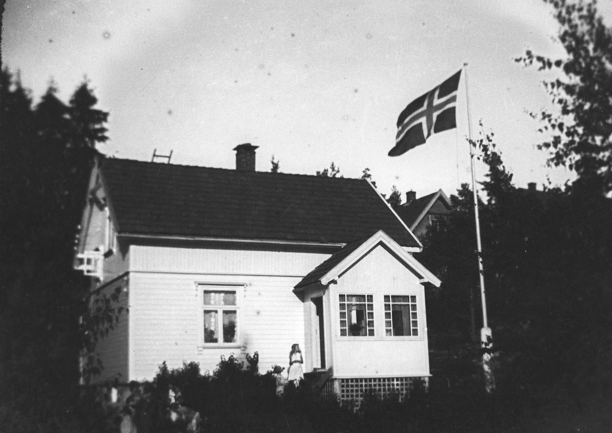 Den første villa Danevang, Høgsetervn. 10.Lite sveitserhus med flagg i flaggstangen.