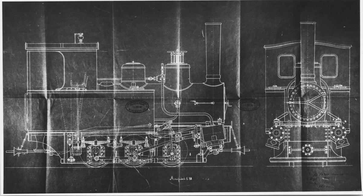 S.L.M. Winterthurs tegning av lok tilbud Urskogbanen.